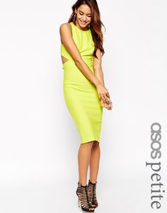 ASOS PETITE Textured Clean Cutout Back Bodycon Dress