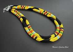 African Necklace Beaded Necklace Bead Crochet Necklace by Herinia, $76.00
