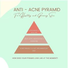 Photo by Nutrition expert on June 30, 2021. May be an image of text that says 'ANTI- ACNE PYRAMID For Healthy and Glowing Skin SUPPLEMENTS & SKINCARE SELF-LOVE, MEDITATION & EXERCISE ACNE FRIENDLY & ANTI INFLAMMATORY DIET HOW DOES YOUR PYRAMID LOOK LIKE AT THE MOMENT?'. #Regram via @CQ6IEmyp7hE Clear Skin Fast, Clear Skin Tips, Acne Clearing Foods, Clear Skin Routine, Glowing Skin Diet, June 30, How To Treat Acne, Acne Treatment, Meditation