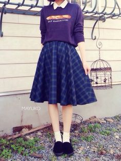 tops ⁂ haco. ・・・ skirt ⁂ てづくり ・・・ sock ⁂ 靴下屋 ・・・ shoes ⁂ AVAIL