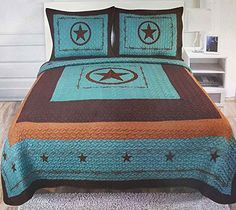 Western Peak 3 Piece Western Texas Lone Star Cabin Lodge Barb Wire Luxury Quilt Bedspread Coverlet Comforter Turquoise Brown Set (Twin) Looking for bedroom decor ideas - http://aluxurybed.com/product/western-peak-3-piece-western-texas-lone-star-cabin-lodge-barb-wire-luxury-quilt-bedspread-coverlet-comforter-turquoise-brown-set-twin/
