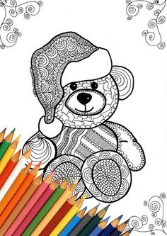 Teddy Bears Coloring Page Printable Zentangle Design Bear Santa Black And White Instant Download A4 Merry Christmas Idea Kids Adults Book