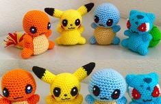 Conjunto de patrón de ganchillo de un Pikachu, Squirtle, Charmander y Bulbasaur patrón amigurumi - patrón de kawaii chibi set descarga instantánea