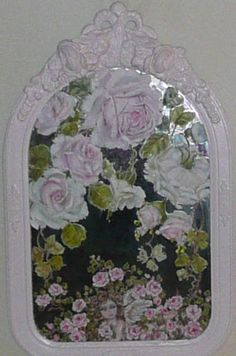 Hand painted pink roses mirror