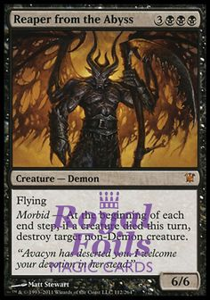 Reaper from the Abyss morbid Magic the Gathering mtg Innistrad black mythic rare demon creature card Magic The Gathering Karten, Mtg Decks, Mtg Art, Legendary Creature, Magic Cards, Wizards Of The Coast, Summoning, Deck Of Cards, Card Games