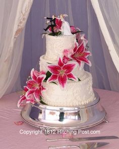 stargazer lily wedding cakes - Google Search without the topper just flowers on top @ginni baughn engen