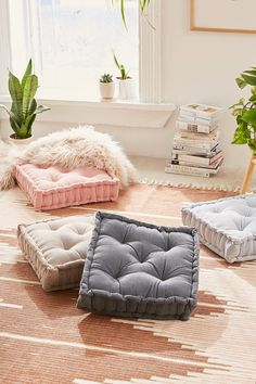 # DIY Home Decor signs Washed Corduroy Floor Pillow Home Decor Bedroom, Living Room Decor, Diy Home Decor, Chic Apartment Decor, Bedroom Ideas, Apartment Furniture, Dream Bedroom, Floor Cushions, Chair Cushions