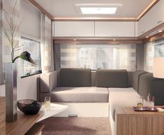 A modern trailer interior Interior Motorhome, Trailer Interior, Caravan Makeover, Caravan Renovation, Retro Caravan, Camper Caravan, Caravan Ideas, Airstream, Glamping