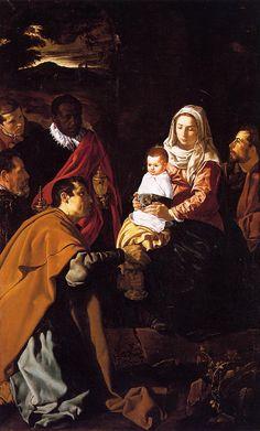 Velasquez - 'Adoration des Mages' (1619) - (Musée du Prado, Madrid). On estime que les modèles du peintre étaient choisis dans sa famille: l'enfant serait sa sœur Francisca, la Vierge son épouse Juana, Melchior son beau-père Pacheco et Gaspar serait Velasquez en personne.