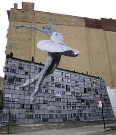 JR brings a new mural to the streets of New York City, USA