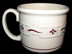 """Longaberger WOVEN TRADITIONS Red Large SOUP MUG 4 1/2"""" 16 oz XLNT Condition $24.99 each"""