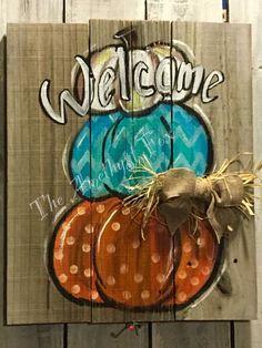 Pumpkin Snowmen, Pumpkin Art, Pumpkin Crafts, Halloween Wood Crafts, Fall Crafts, Fall Halloween, Painting Burlap, Painting On Wood, Mason Jar Hanger