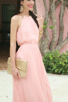 Gorgeous petal pink maxi with gold accessories
