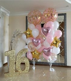 Decoration Birthday Party Ideas Create your perfect party with various decorations like the picture below!Choose from some of plain and themed birthday party decorations including banners, bunting, paper decorations, pom poms,baloon and more. Quinceanera Decorations, Quinceanera Party, Balloon Decorations, Rose Gold Party Decorations, Sweet 16 Centerpieces, Quince Decorations, Balloon Display, Centerpiece Flowers, Balloon Centerpieces