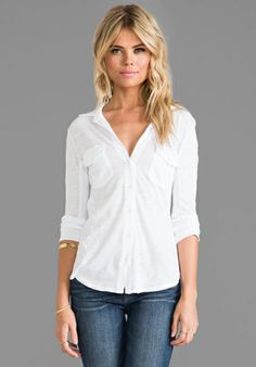 JAMES PERSE Slub Side Panel Button Front Shirt in White at Revolve Clothing - Free Shipping!