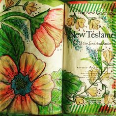 beautiful journaling Bible on New Testament title page Scripture Art, Bible Art, Journal Pages, Bible Journal, Journal Art, Journals, Illustrated Words, Bible Words, New Testament