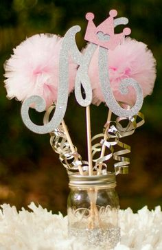 Monogram centerpiece for baby shower