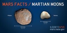Mars moon facts for science teachers and students. Mars has two small moons… Mars Planet Facts, Mars Facts, Mars Project, Planet Project, Science Images, Nasa Images, Mars Moons, Planets And Moons, Mission To Mars