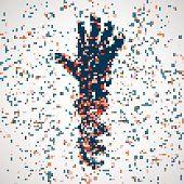 Futurista modelo de mano, abstract molécula de ADN