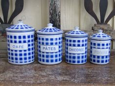 French Enamelware blue and white check canister set. $170.00, via Etsy.