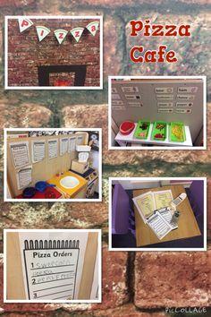Pizza cafe. EYFS role play Pizza Role Play, Kids Role Play, Pretend Play, Cafe Role Play Area, Role Play Areas, Dramatic Play Area, Dramatic Play Centers, School Pizza, School Farm