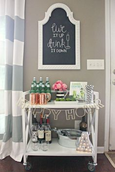 A perfectly stocked bar cart