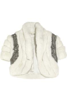 Embellished rabbit fur shrug