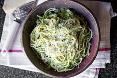 Spaghetti with Broccoli Cream Pesto by smittenkitchen #Pasta #Broccoi #smittenkitchen