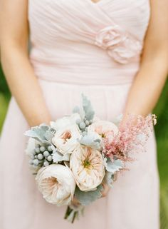 lovely pink bouquet garden roses and lamb's ear. photo by lanedittoe.com