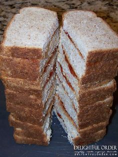 Freeze sandwiches for the whole week and take out of freezer morning of school (notes: 1. lightly pb each slice of bread and then add jelly 2. if adding condiments to meat sandwich put them in between layers of meat and cheese - both to save bread from getting soggy) - (anna)