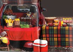 Great Idea for Fall Tailgate Party or Even just fall picnic...table next to tailgate....Love it!
