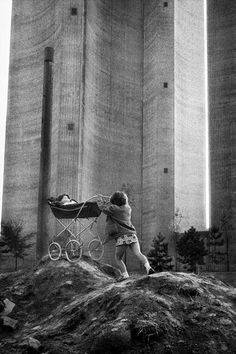 Jean Gaumy - At the foot of the water tower, Rouen (Quartier des Sapins) 1971. ☚