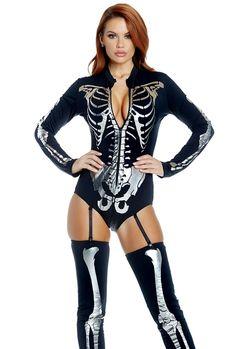 Forplay Jump Your Bones Skeleton Black LS Zip Front Bodysuit Costume