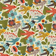 """Our Wallpapers  Helen Dardik Art.no:R50809 SUMMER GARDENING """"Oh, hello little birds! Are you rushing around my garden looking for twigs, bi..."""