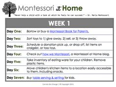 How to Montessori at Home: a step by step daily guide to integrating Montessori at Home. Here is Week 1.