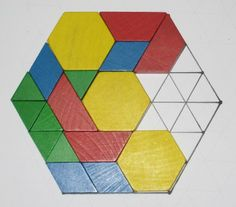 The Last Block game - with pattern blocks. Make your own game boards using triangle graph paper.