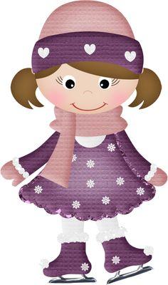 Brown haired girl on skates Winter Clipart, Christmas Clipart, Christmas Frames, Christmas Pictures, Childrens Christmas, Kids Christmas, Snowman Clipart, Purple Art, Winter Fun