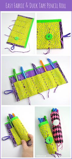 Easy fabric and duct tape pencil roll tutorial for kids. The perfect back to school craft! via Club Chica Circle