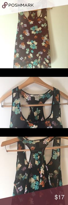 American Rag floral racer top American Rag floral racer top. Too small so only wore a handful of times. American Rag Tops Blouses