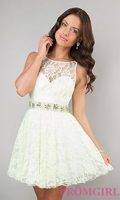 Short Lace Ivory Party Dress by Dave and Johnny at PromGirl.com