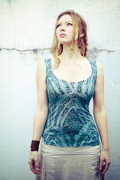 Aqua blue burn out cotton drops pattern basic women tank top, very charming and fresh on Etsy, $25.00