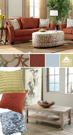 Like the autumn red/orange with the pastel blue and green! Corson Sofa - Ashley Furniture HomeStore