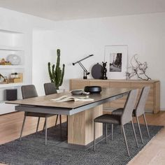Calligaris Sincro Extending Table in Ceramic Nougat to with Natural Veneer Base