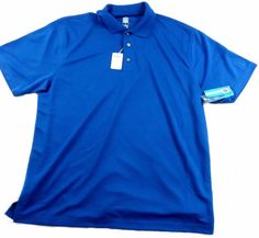 NWT Men's PGA Golf Tour Airflux Classic Blue Golf Polo Shirt Size XL #PGAGolfTour