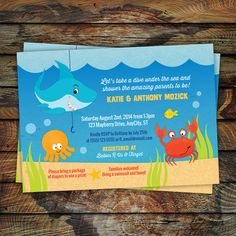 Under the Sea Invitation, Shark Invitation, Ocean Invitation, Printable Baby Shower or Birthday Invitation -- Any Color