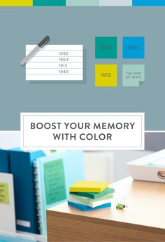 Your brain remembers better with color. Try using the Bora Bora Post-it Color Collection to test your memory and the power of color.