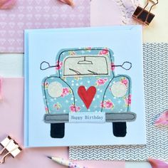 A lovely free machine embroidered birthday greetings card with funky beetle car design. Each card is left blank inside so that you can write your own special message. All cards come with a matching envelope. Card measures 6x6 (15.3x15.3cm) approx. Each of my designs are designed and handmade with Fabric Postcards, Fabric Cards, Fabric Paper, Freehand Machine Embroidery, Free Motion Embroidery, Birthday Greeting Cards, Birthday Greetings, Beetle Car, Reverse Applique