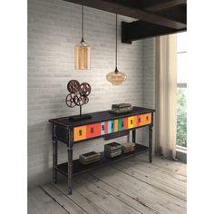 Zuo Modern Vidal Console Table Multicolor Distressed Black #accentfurniture #interiordesign #interior #decor #table
