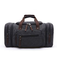 e6172b4fce04 Baybby Thick Canvas Weekend Duffle Bag Mens Large Travel Tote Handbag with  55L Black
