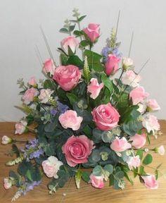 Rose GYPS Memorial grave pots artificial silk flower arrangement funeral